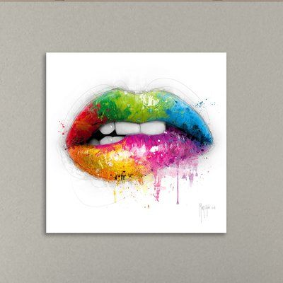 Latitude Run Lipstick Graphic Art Print On Wrapped Canvas Size 12 H X 12 W Canvas Giclee Drip Art Gallery Wrap Canvas