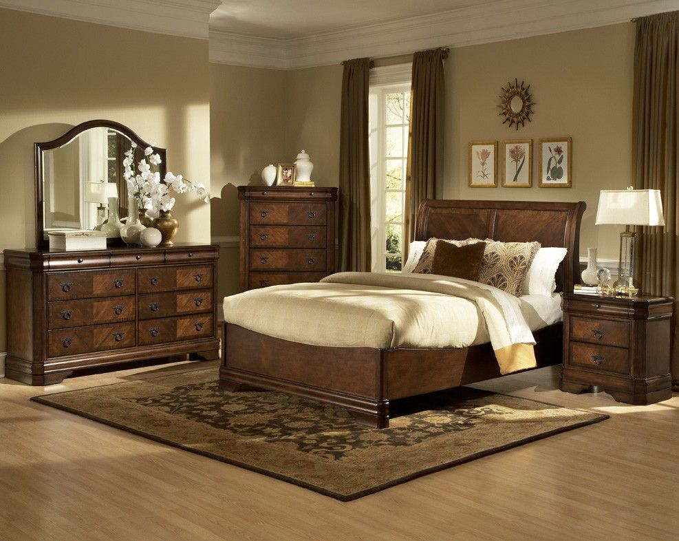 New Classic Sheridan Sleigh Bed Set In Burnished Cherry In