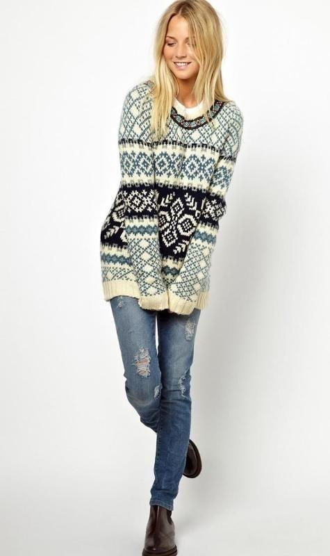 Bellfield Jacquard Sweater With Neck Detail Gensere Strikke Strikking