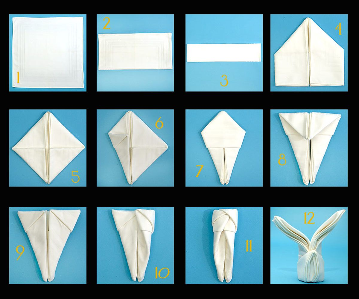 Napkin folding instructions for the pyramid napkin fold - Read More Bunny Napkins Easter Bunny Napkin Folding Instructions Good Housekeeping