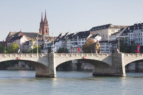 size: 24x16in Photographic Print: Mittlere Rheinbrucke Bridge and Cathedral by Markus Lange :