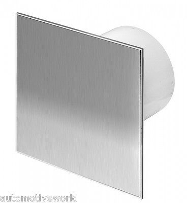"4/"" with Pull Cord Switch and Silver Panel Silent Bathroom Extractor Fan 100mm"