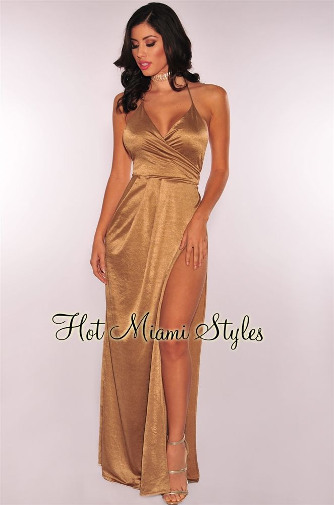 Plunge front maxi dress twin sister