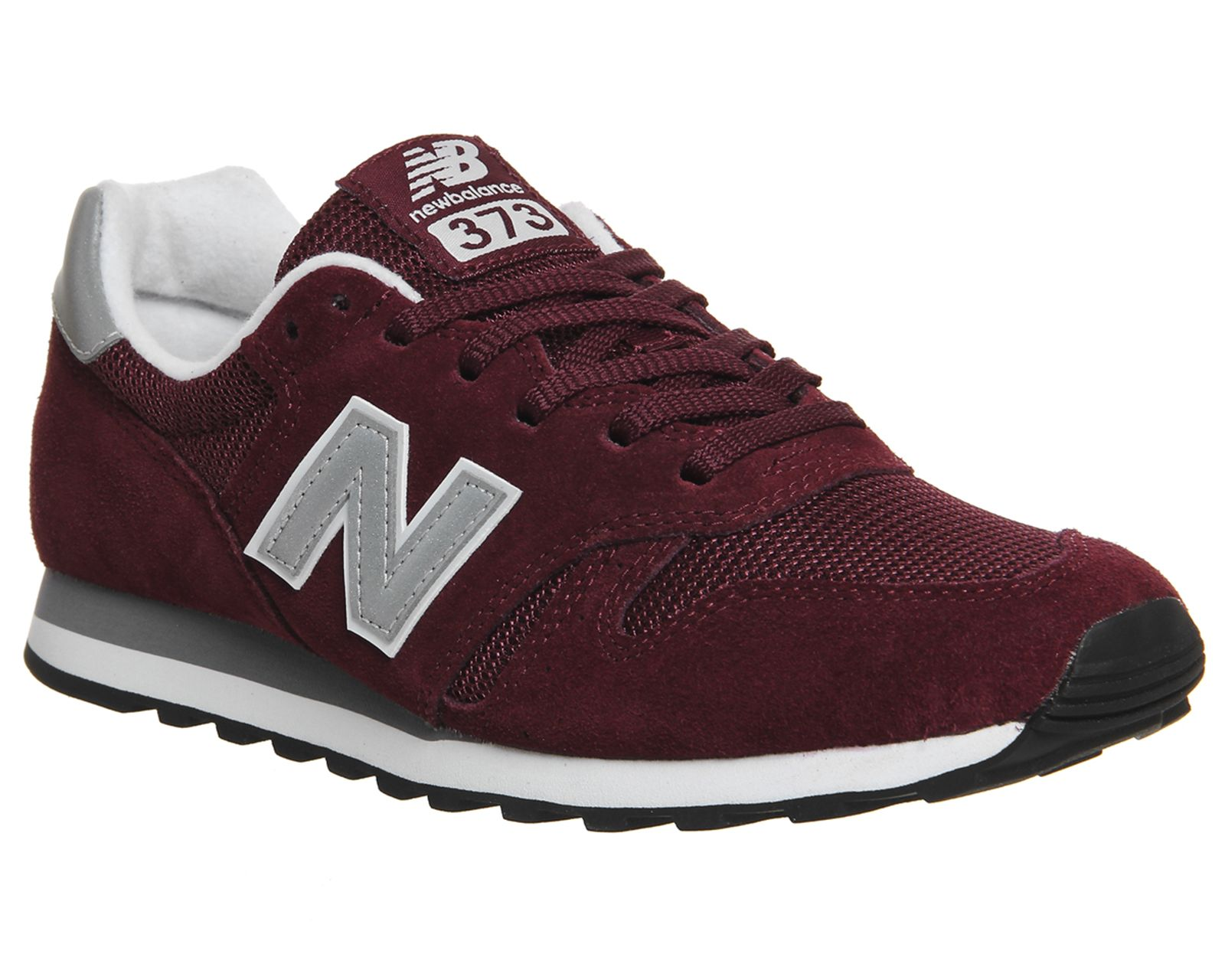 new balance 373 navy & burgundy suede trainers
