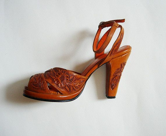 ✯ 1940s style platform ankle heels ✯ Mexican tooled leather ✯ 4 inch heel,  1/2 platform ✯ Natural leather ✯ Label, Re-mix Classic Footwear, ...