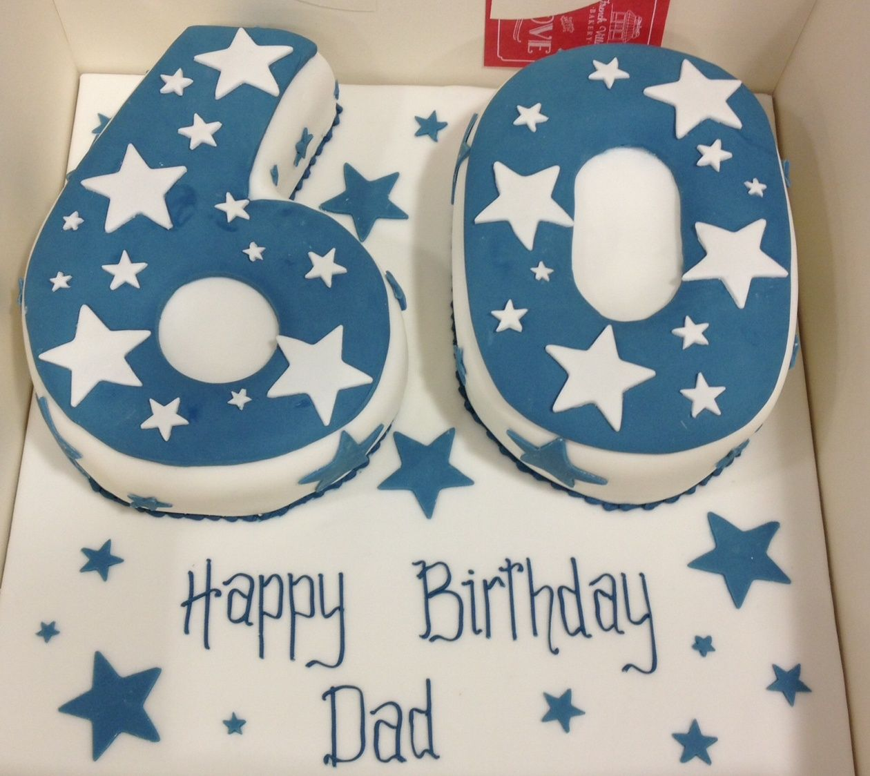60 Shaped Blue And White Star Cake