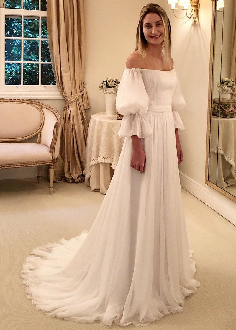 Simple Wedding Dresses, Cool Chiffon Off The Shoulder A