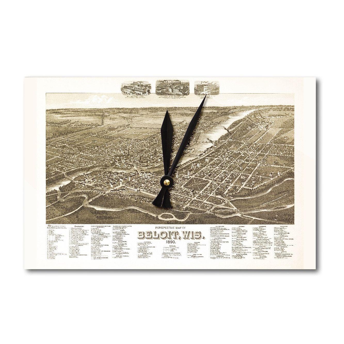 Beloit, Wisconsin   Panoramic Map (Acrylic Wall Clock), Black (Plastic)