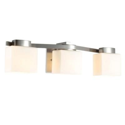 Hampton Bay 3Light Brushed Nickel Bath Light  Bays Home And Beauteous Home Depot Bathroom Light Fixtures Decorating Inspiration