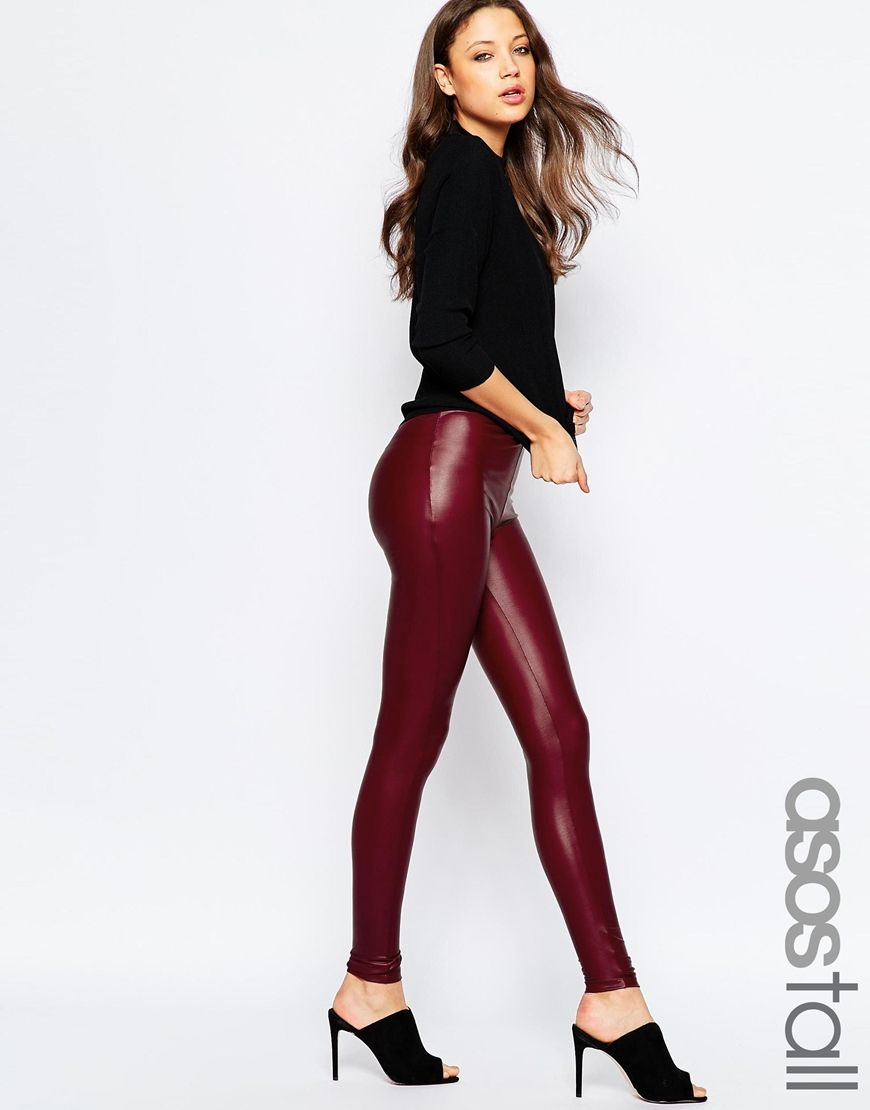 51a5f1ded3a5ae ASOS TALL Leather Look Leggings with Elastic Slim Waist | Fashion To ...