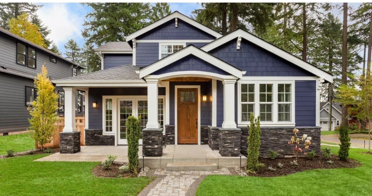 Beautiful Slate Blue Craftsman Style Home House Paint Exterior Dream House Exterior Exterior House Colors