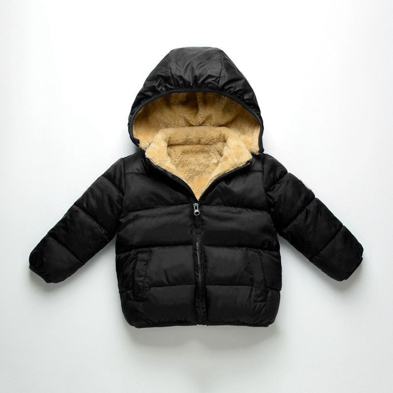 Winter Kids Boys Thick Padded Coat Puffer Down Jacket Snowsuit Outerwear Hooded