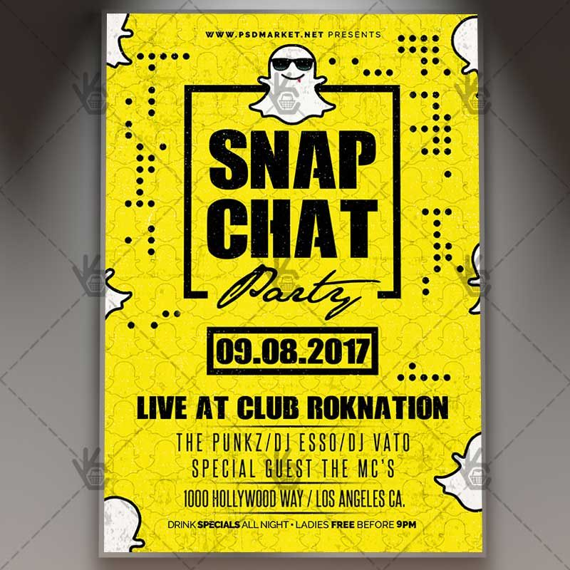 snap chat party premium flyer psd template psdmarket pinterest. Black Bedroom Furniture Sets. Home Design Ideas