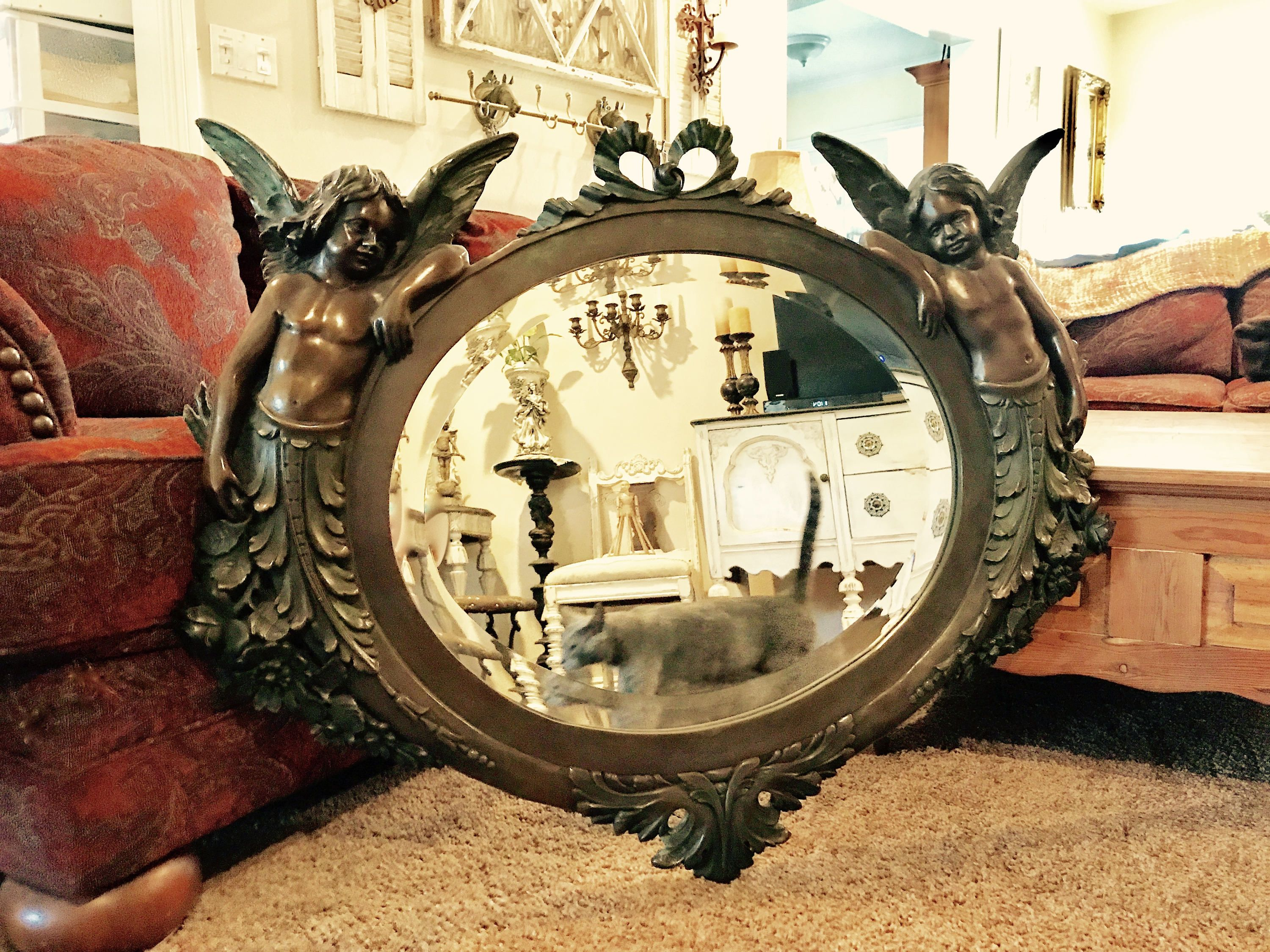 Bronze Wall Mirror with Angels, Art Nouveau Mirror with Cherub ...