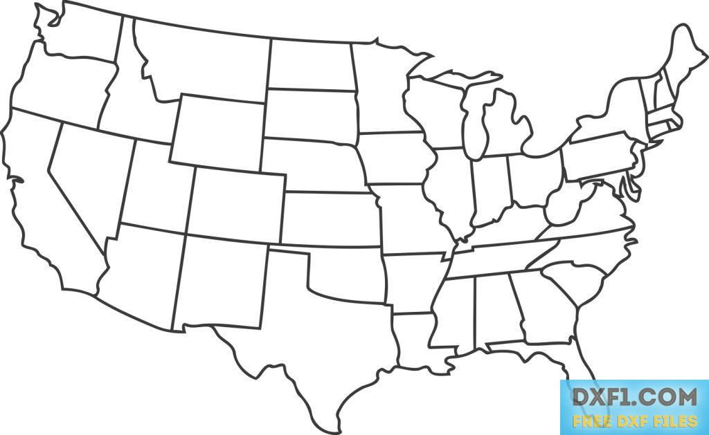 Map show country boundary and the flag in the background. Usa Map Dxf Svg Eps Ai Files Free Download United States Vector Map With Detailed Border United States Map Map Outline Usa Map