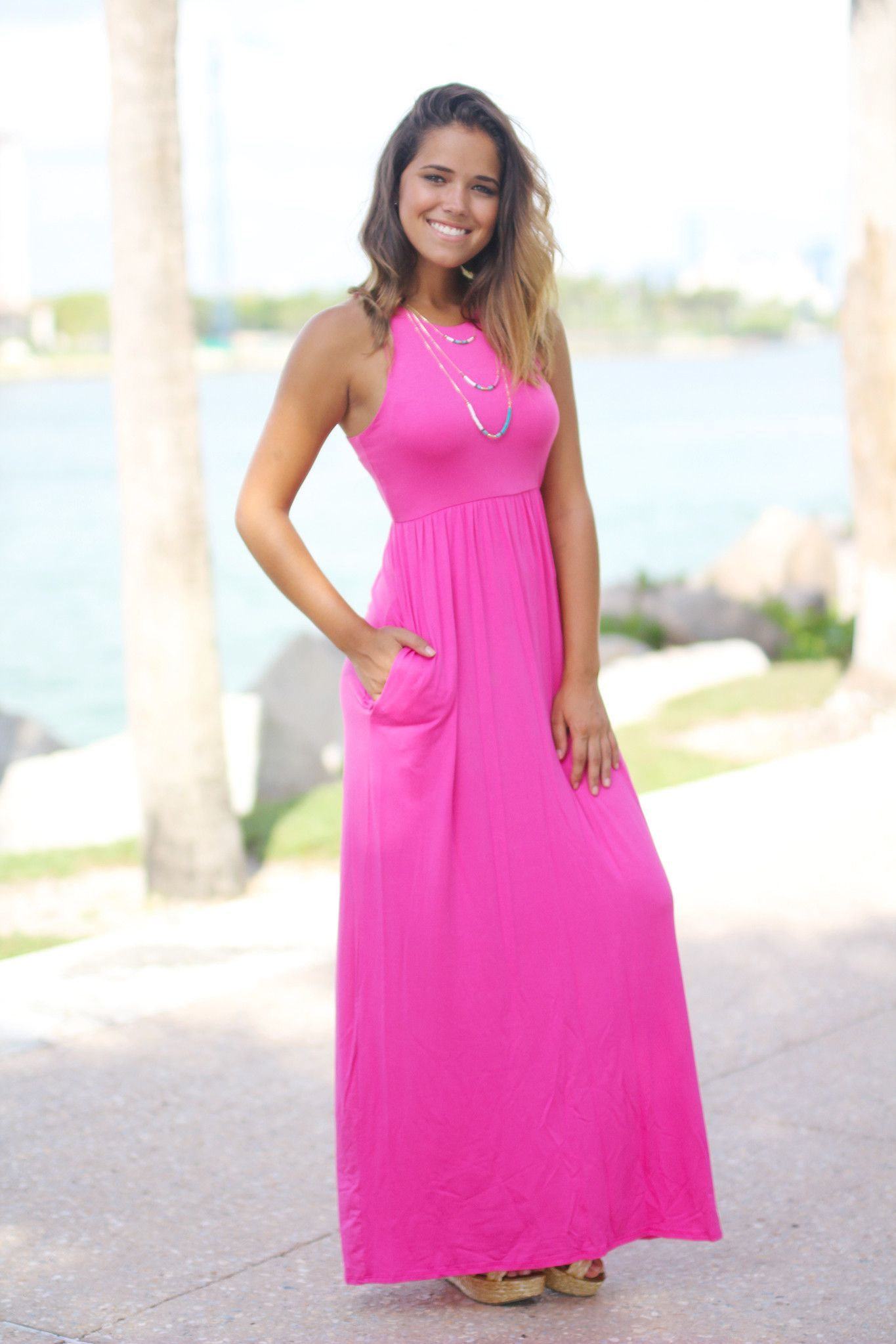 Pink Maxi Dress with Pockets | Pinterest | Vestido largo, Informal y ...