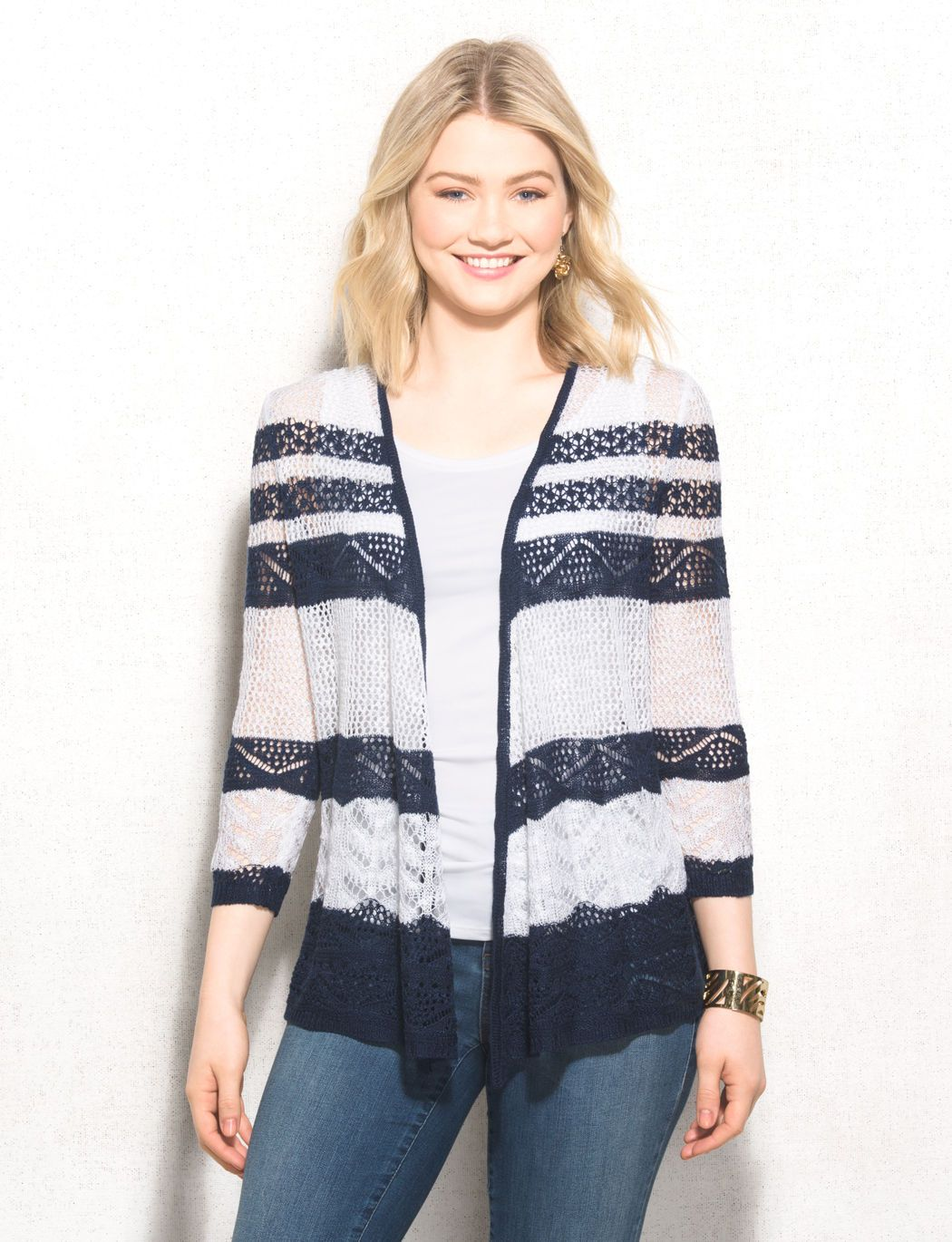 We're loving nautical hues for summer. This navy and white striped ...