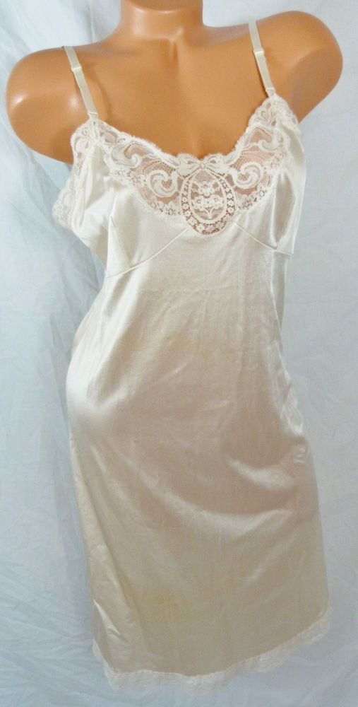 Vintage 60\'s Fancy Lorraine Silky White Lace Full Slip Night Gown ...