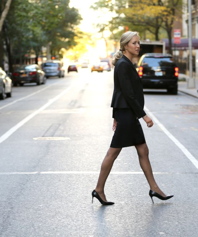 What To Wear To An Interview Tips Advice Checklist Owning Interview Sleek  Simple Polished Clean Black Suit Ann Taylor Power Piece Fit Shoes Nails Hu2026