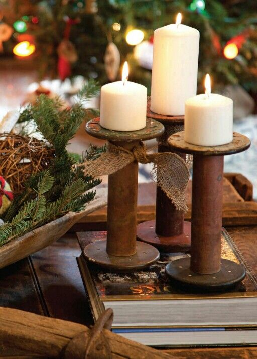 Old Bobbins As Candle Holders Christmas Wooden Spool