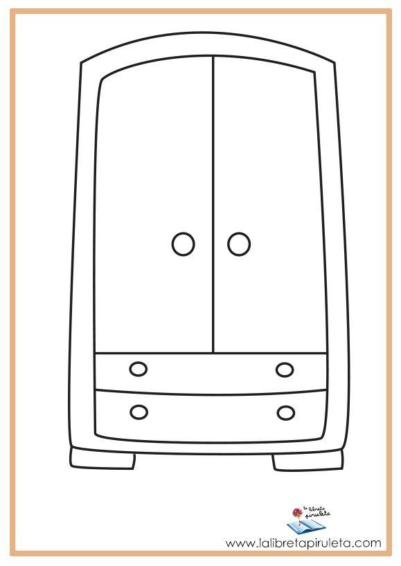 Fichas para imprimir y colorear muebles armario casa - Armarios infantiles ...