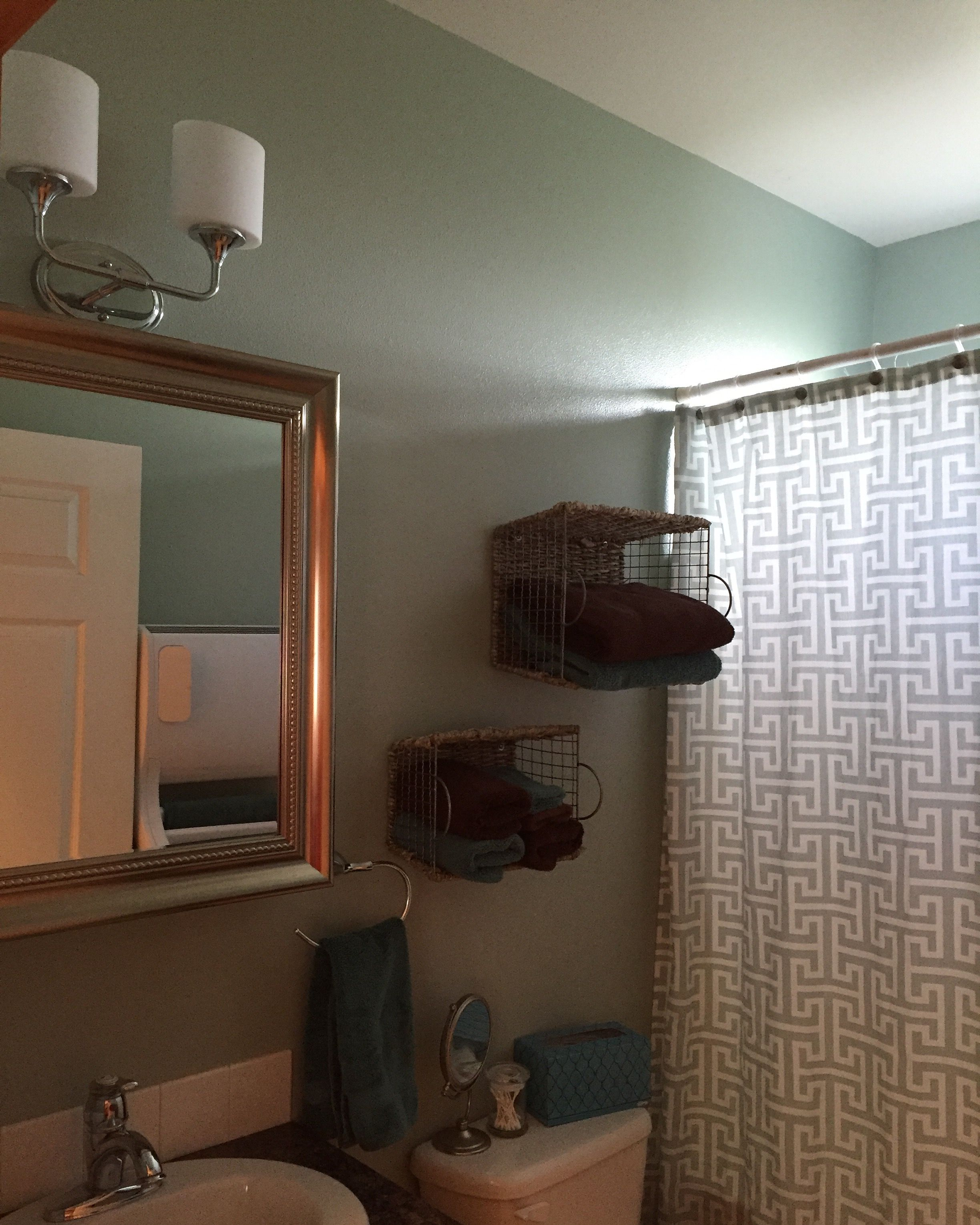 Our Small Guest Bathroom. We Hung A Medicine Cabinet For Extra Storage,  Baskets For