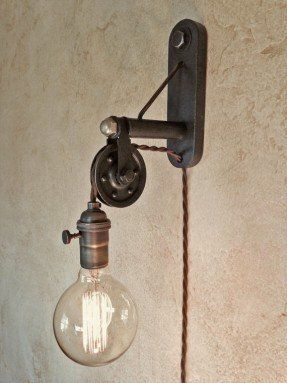 Industrial Pulley Sconce Lamp Plug In By Ironcladindustrial Industrial Light Fixtures Industrial Lighting Sconce Lighting