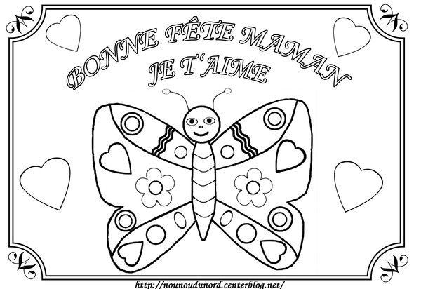 Papillon coloriage pour la fête des mères | Coloring books