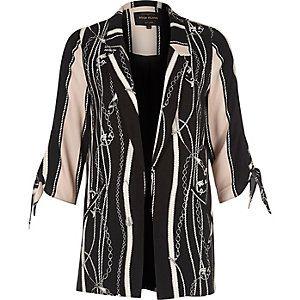 Black scarf print tie sleeve blazer