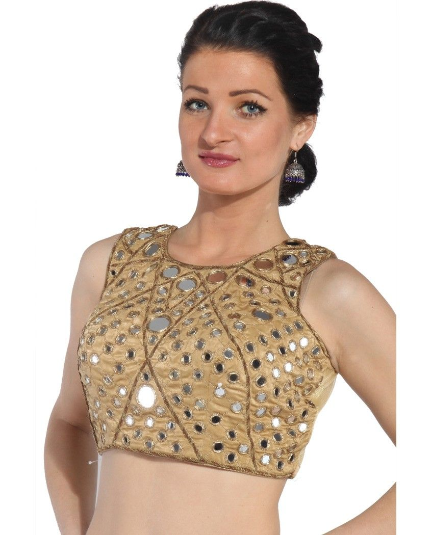 Lehenga blouse design in golden color and mirror work - Glass Work Blouses Google Search