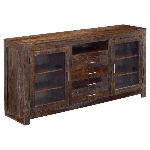 Four Drawer Two Door Media Console Gray Treasure Trove