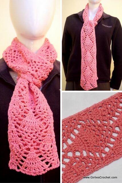 Diana Crochet Scarf Free Crochet Pattern Easy G Hook Worsted