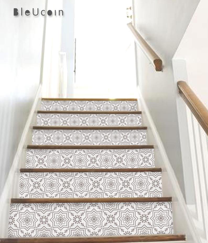 Antalya Grey Stair Riser Peel Stick Vinyl Decal Self Adhesive Etsy Stair Riser Vinyl Flooring For Stairs Stair Risers