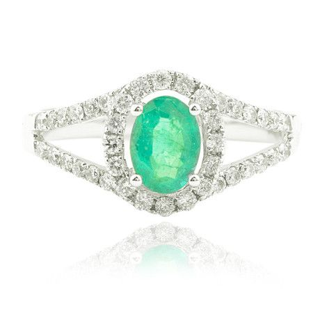 Oval Emerald and Diamond Ring with Halo and Split Shoulders