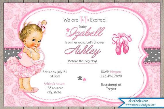 Tutu Girl Baby Shower Invitation Tutu Excited Baby Shower