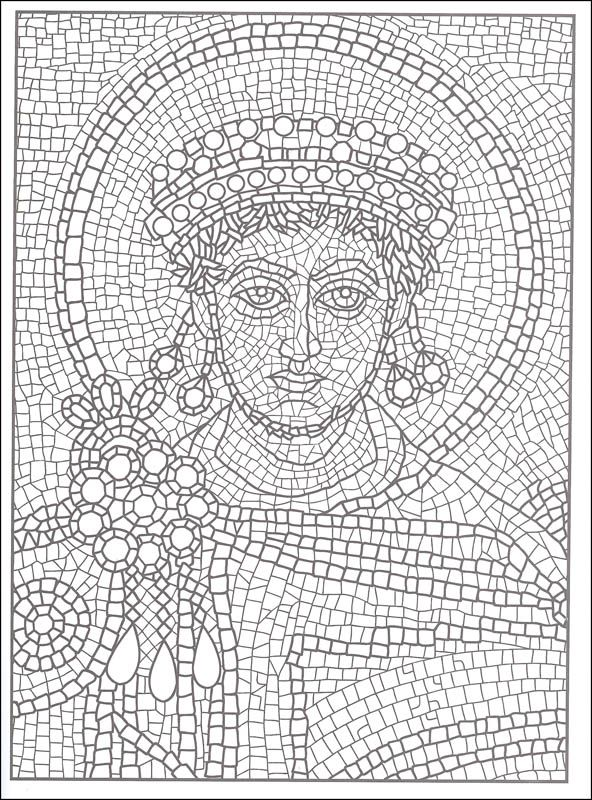 Printable mosaic coloring pages for adults color by for Roman mosaic templates for kids