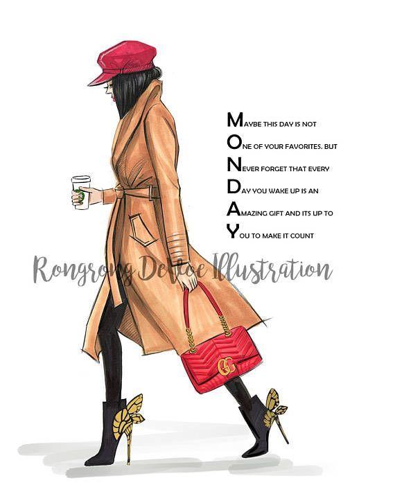Monday Coffee, Motivation, Inspirational Fashion Illustration Print, Fashion Sketch Art Prints, Coffee Poster Illustration, Fashionista Art