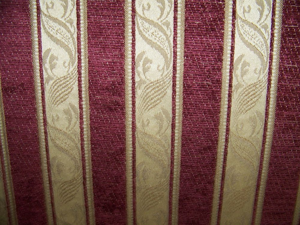 Waverly burgundy and gold woven stripe upholstery fabric for Upholstery fabric