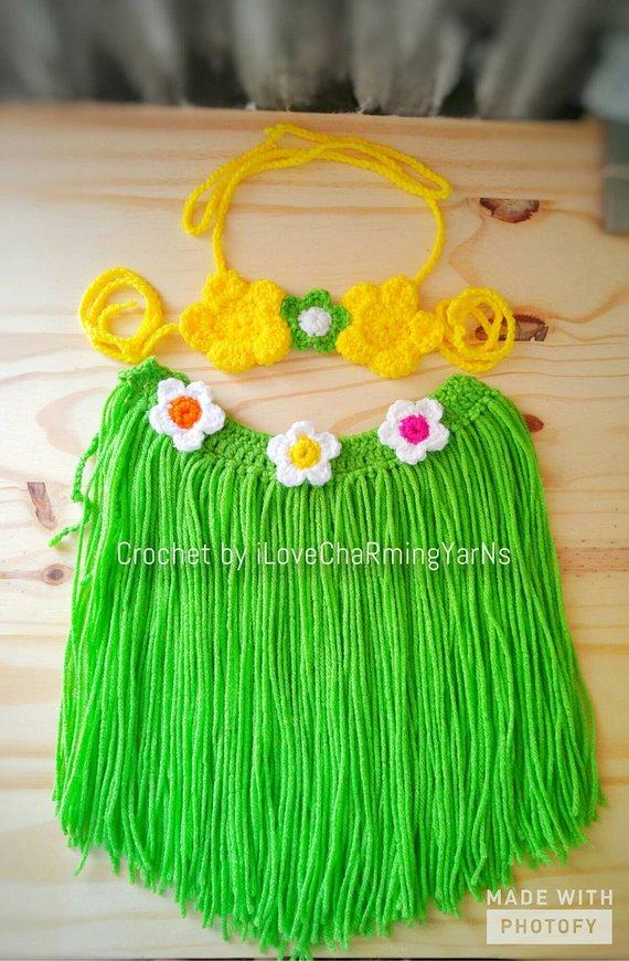 ba0b242b57b35 Crochet hawaiian hula set, baby hula outfit,hula girl outfit, girls  hawaiian costume,hula costume,hu