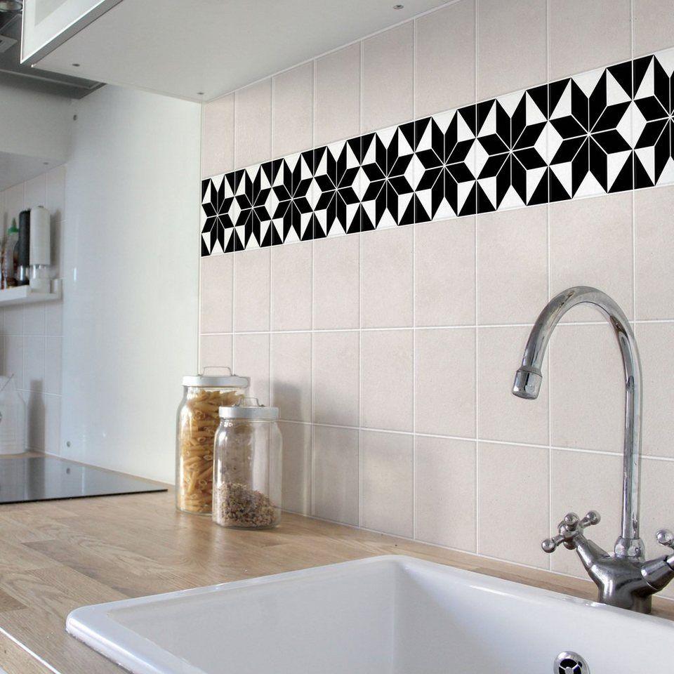 Bilderwelten fliesenaufkleber 15x15 cm set sternenmuster black home in black white otto - Selbstklebende fliesenfolie ...