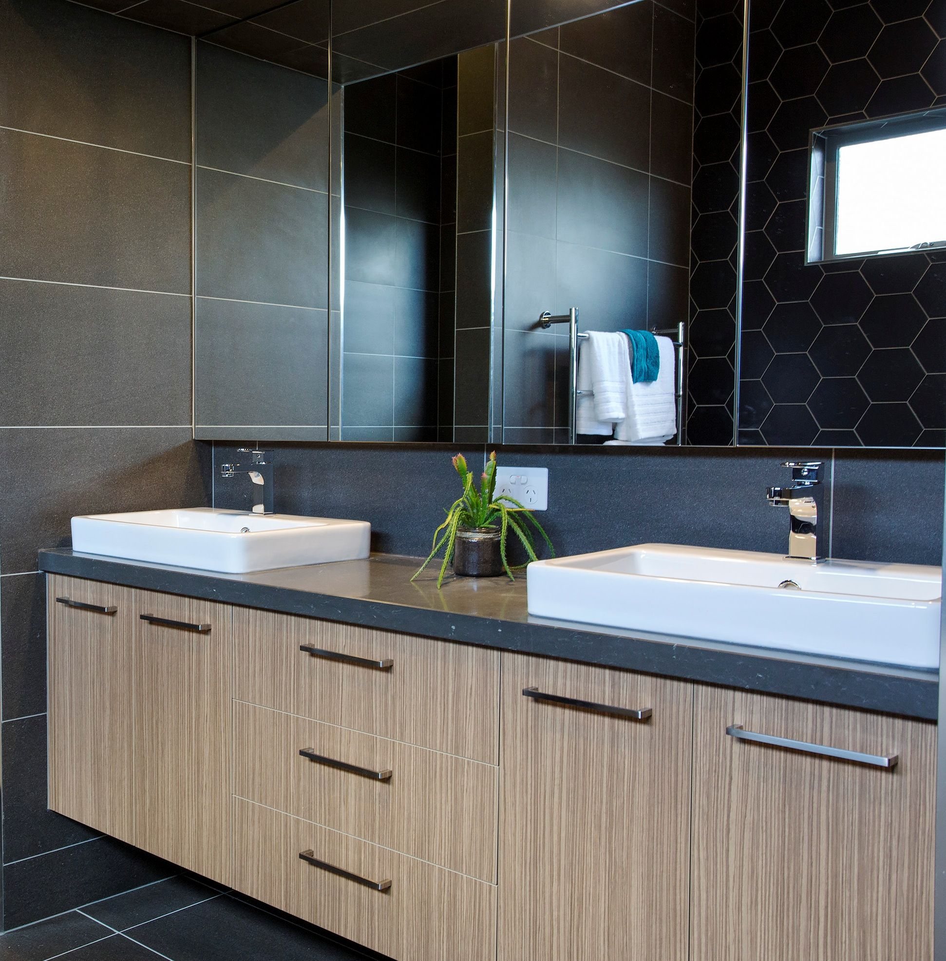 Ensuite vanity by bourke 39 s kitchens benchtop caesarstone for Kitchen ideas zebrano