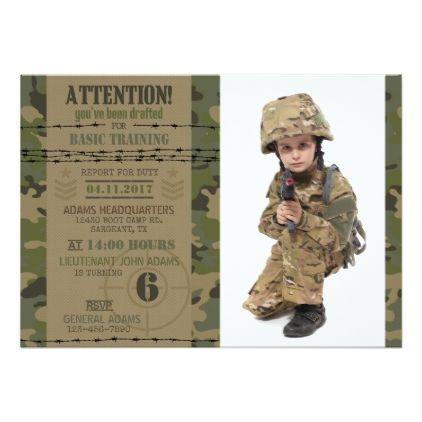 Army Jungle Camouflage Military Birthday Card Invitations Custom