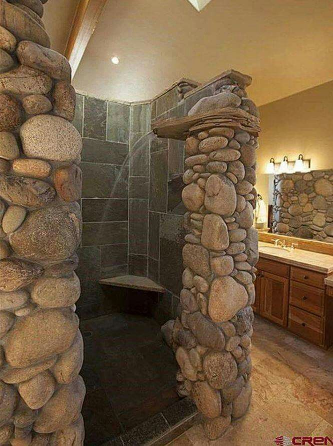 Walk In Shower With Pebble Stone Floors And Bench Seats Bathroom