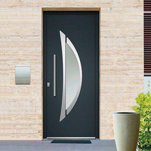 Porte Dentrée Monobloc Aluminium EMALU HUDSON Disponible En Gris - Porte placard coulissante jumelé avec prix serrurier paris