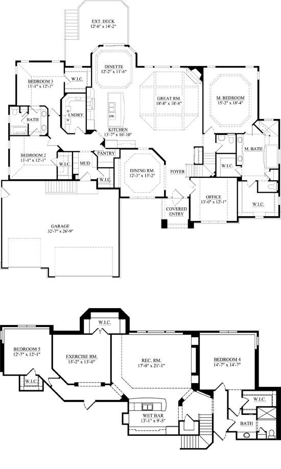 Downstairs: Master, Office, Dining, Kitchen, Great room, 2 bedrooms ...