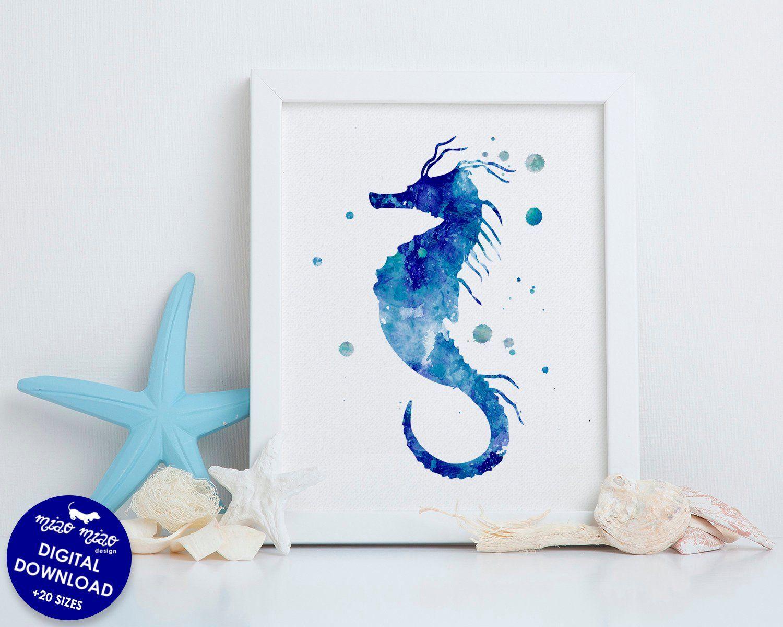 Seahorse Art Print Sea Animals Watercolor Art Print For