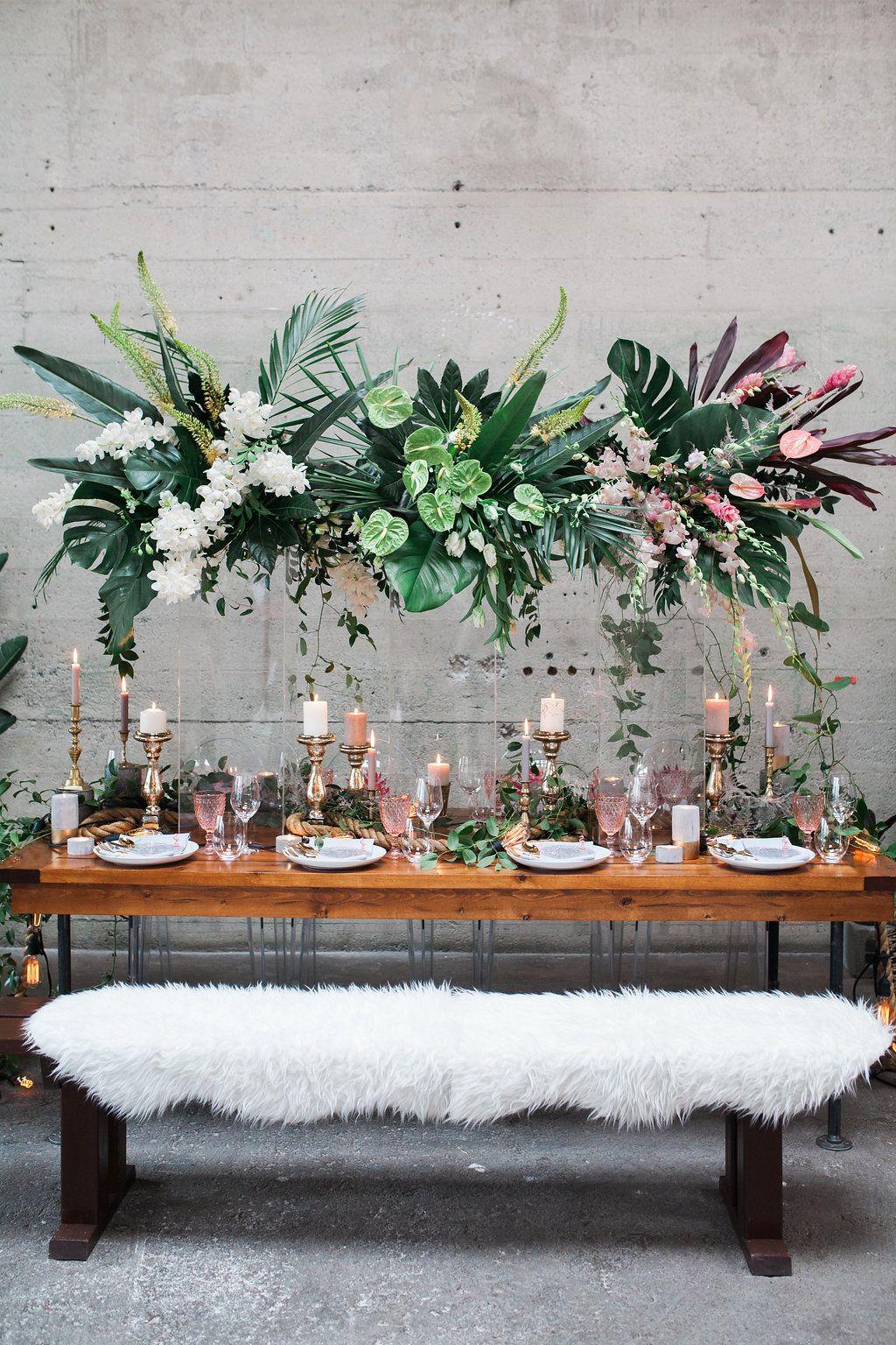 tropical wedding receptions - photo by Katt Willson http://ruffledblog.com/stylish-tropical-wedding-inspiration-in-the-pacific-northwest