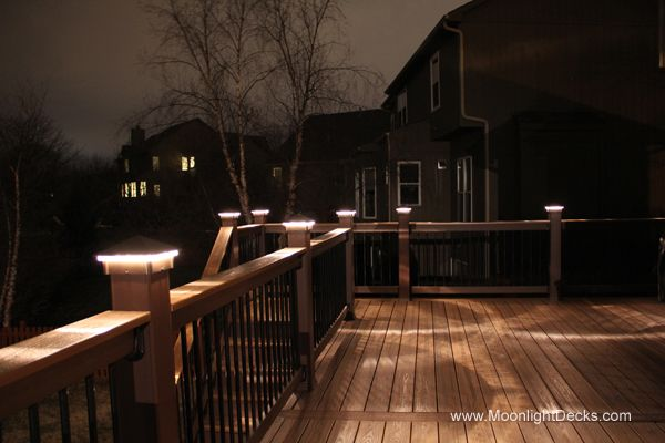 Deck lights photo collage including lighted post caps under railing led lights and step