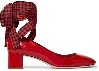 ec1fd9baf Miu Miu - Lace-up Patent-leather Pumps - Red   Shoes glorious shoes ...