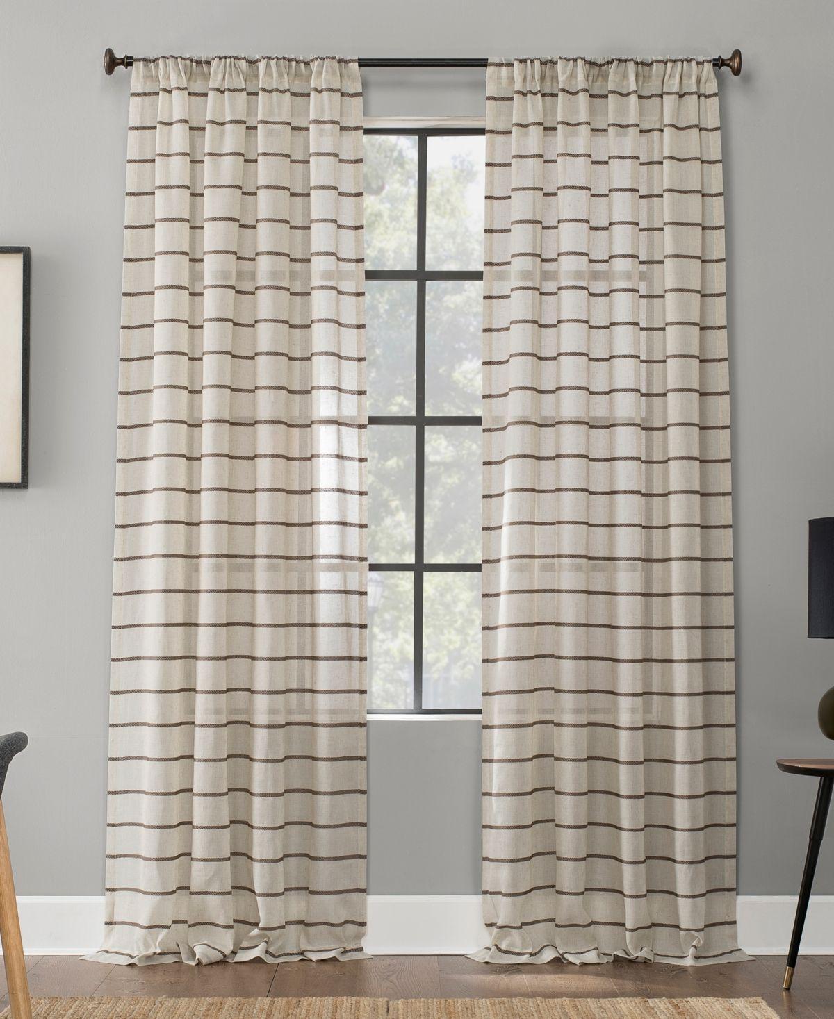Clean Window Twill Stripe Anti Dust Curtain Panel 52 In